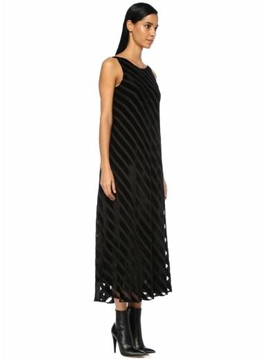 Beymen Club Sırtı Açık Midi Kadife Elbise Siyah